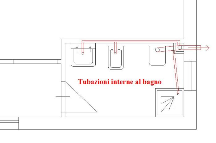 Bagni wc tubazioni di scarico dei singoli apparecchi for Disegno impianto riscaldamento a termosifoni