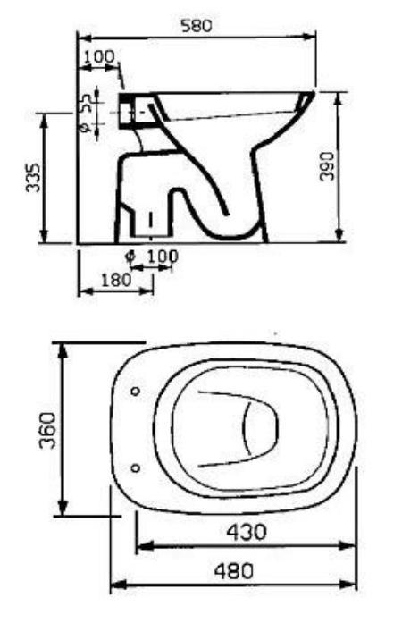 Misure tazza wc boiserie in ceramica per bagno - Tazza del bagno ...