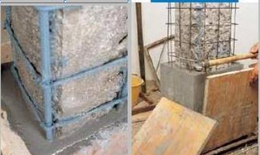 Pilastri in cemento armato. ripristino delle strutture degradate