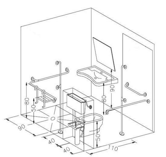 Casa moderna roma italy wc disabili misure - Bagno disabili dwg ...