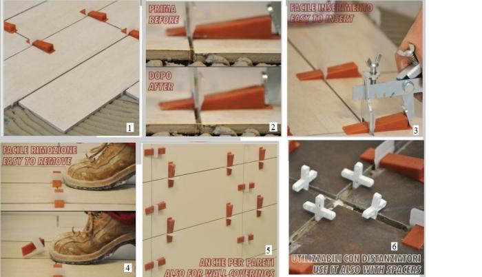 Pavimenti un distanziatore livellante per una posa a for Distanziatori piastrelle 1 mm