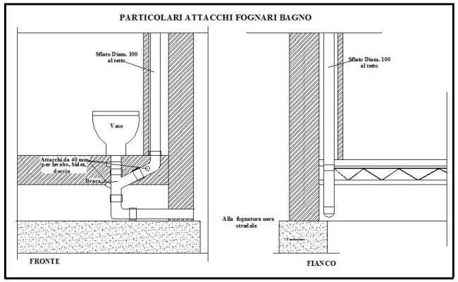 Bagni wc. Tubazioni di scarico dei singoli apparecchi sanitari ...