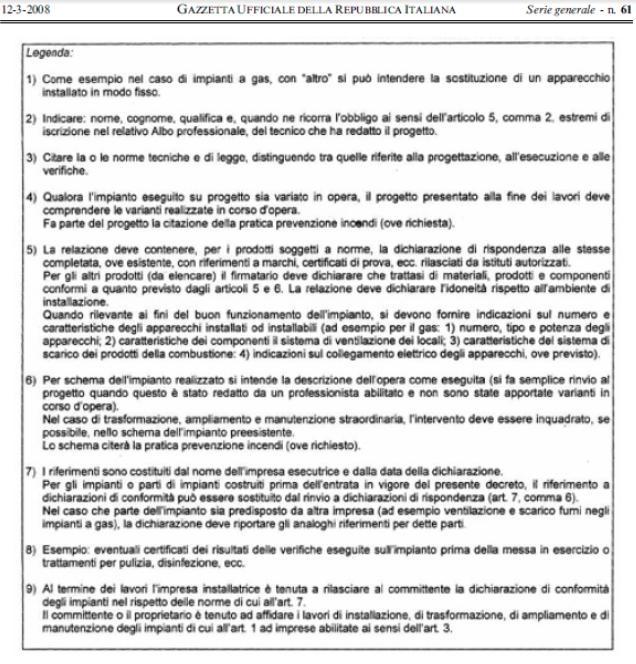 Gl impianti di garabello luigi dichiarazione di - Certificato impianto elettrico a norma ...