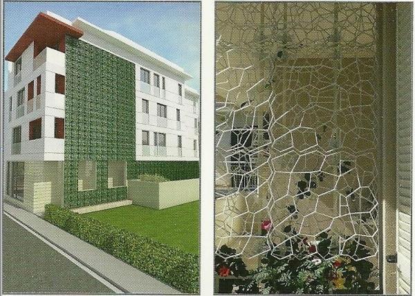 Una griglia studiata per ottenere pareti verdi verticali.