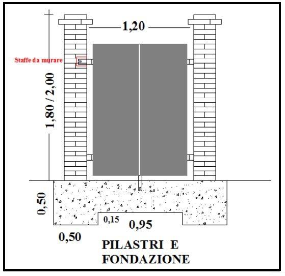Costruzione di accesso pedonale con pilastri e cancello for Piani a due piani in mattoni a vista