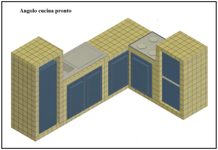 Una bella cucina in muratura, con l\'uso dei blocchi Gasbeton. Parte 2^.
