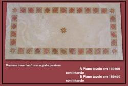Ripiani intarsiati per tavoli, realizzati in pietra e marmo e di ottima fattura.