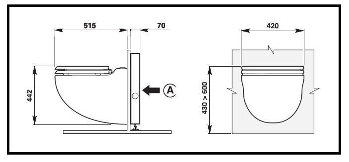 Un vaso wc in ceramica con trituratore integrato e da - Misure water e bidet ...