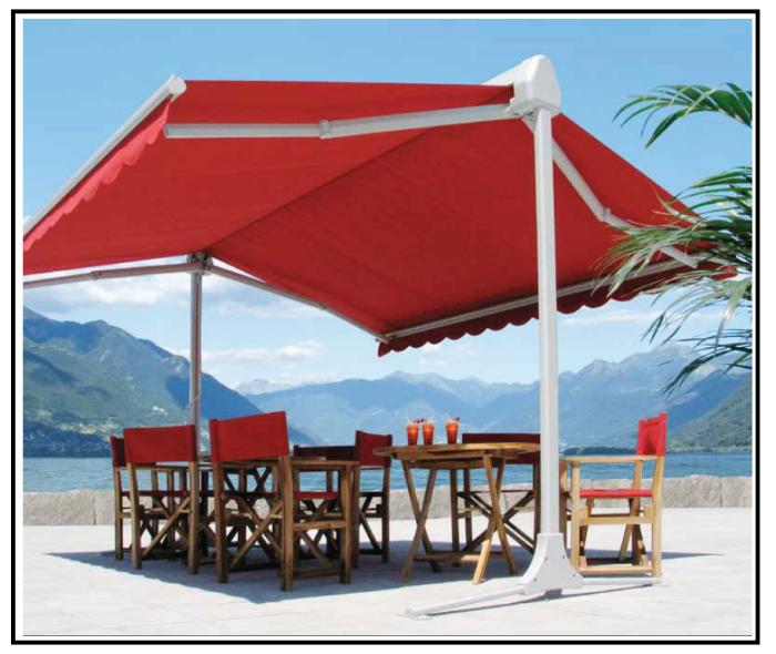 Una tenda da giardino autoportante mobile e con bracci for Il mobile da giardino
