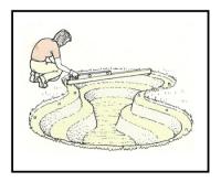 Costruzione di una vasca da giardino con telo flessibile impermeabile 1