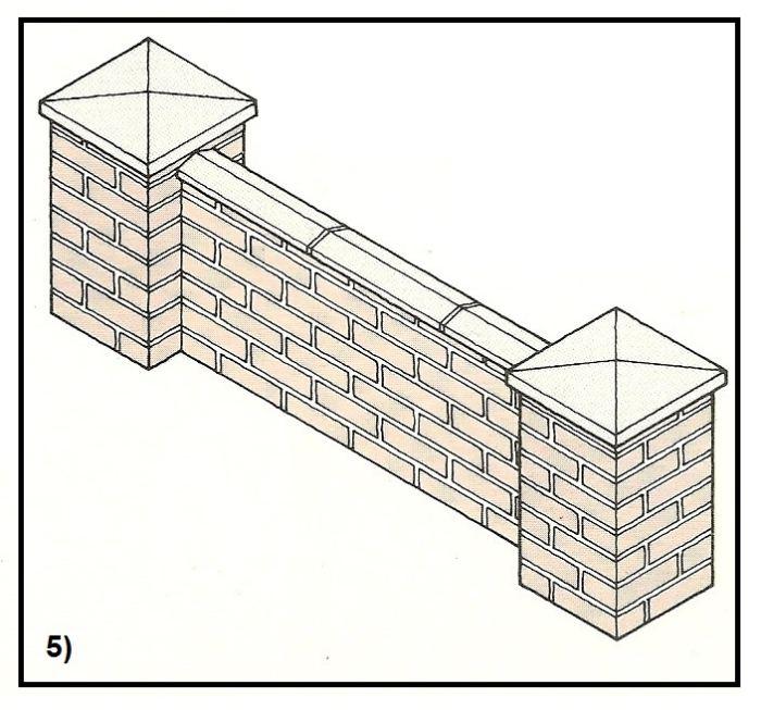 Costruzione dei pilastri di una recinzione in muratura di for Disegni di garage di mattoni