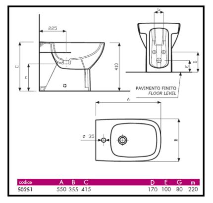 Predisposizione di scarico e attacchi idrici di vaso e bidet - Misure impianto idraulico bagno ...