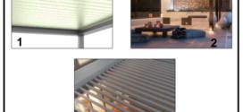 Una bella pergola bioclimatica con orientamento motorizzato dei profili frangisole su di un arco di 120 gradi
