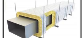 Un materassino in lana di roccia trapuntato su rete metallica e rivestito con un foglio di alluminio retinato classe REI 120