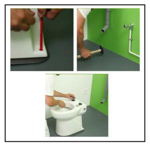 Installazione di un moderno vaso wc trituratore con for Livella a bolla leroy merlin