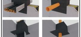 Un mattoncino antifuoco per attraversamenti di impianti meccanici ed elettrici, costituiti da materiale spugnoso